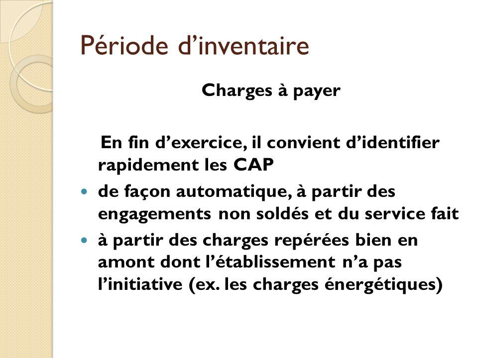 Période dinventaire Charges à payer En fin dexercice, il convient didentifier rapidement les CAP de façon automatique, à partir des engagements non so