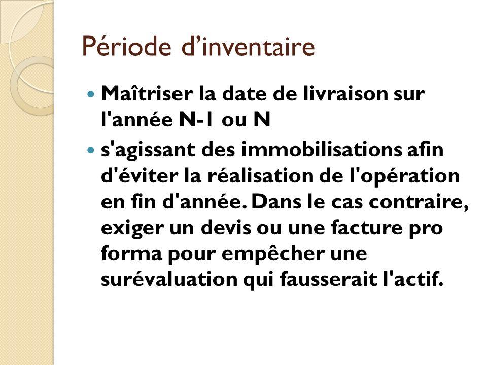 Période dinventaire Maîtriser la date de livraison sur l'année N-1 ou N s'agissant des immobilisations afin d'éviter la réalisation de l'opération en