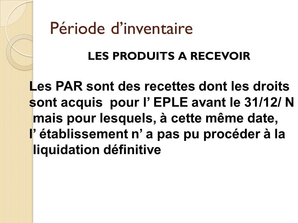 Période dinventaire LES PRODUITS A RECEVOIR Les PAR sont des recettes dont les droits sont acquis pour l EPLE avant le 31/12/ N mais pour lesquels, à