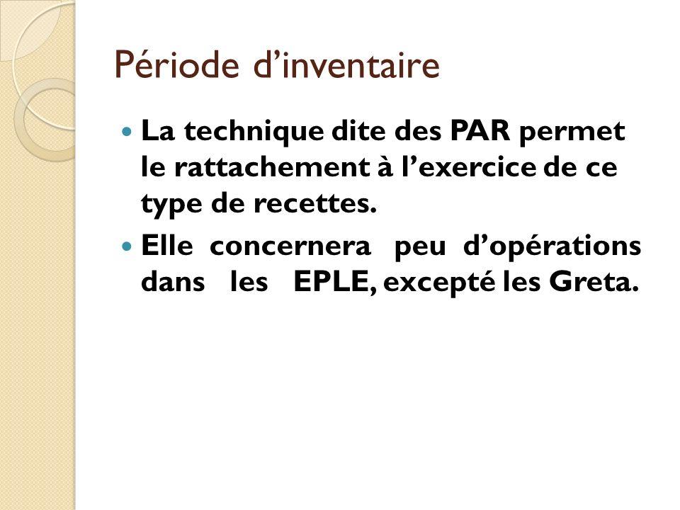 Période dinventaire La technique dite des PAR permet le rattachement à lexercice de ce type de recettes. Elle concernera peu dopérations dans les EPLE