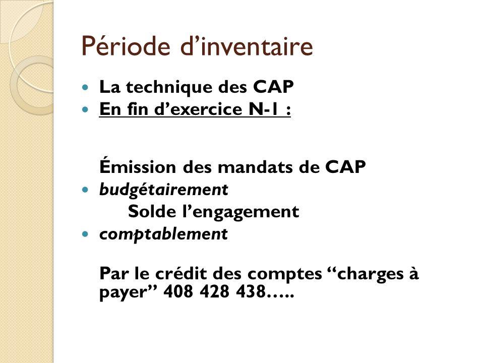 Période dinventaire La technique des CAP En fin dexercice N-1 : Émission des mandats de CAP budgétairement Solde lengagement comptablement Par le créd