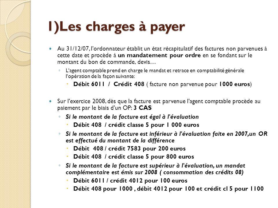 1)Les charges à payer Au 31/12/07, l'ordonnateur établit un état récapitulatif des factures non parvenues à cette date et procède à un mandatement pou