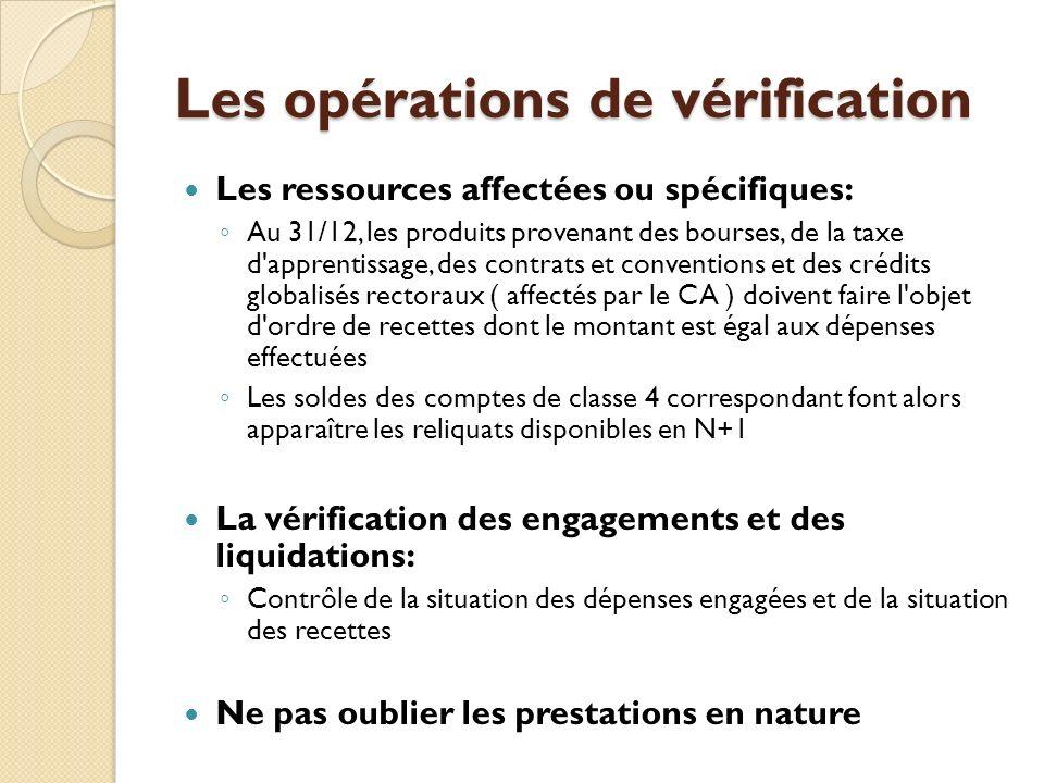 Les opérations de vérification Les ressources affectées ou spécifiques: Au 31/12, les produits provenant des bourses, de la taxe d'apprentissage, des