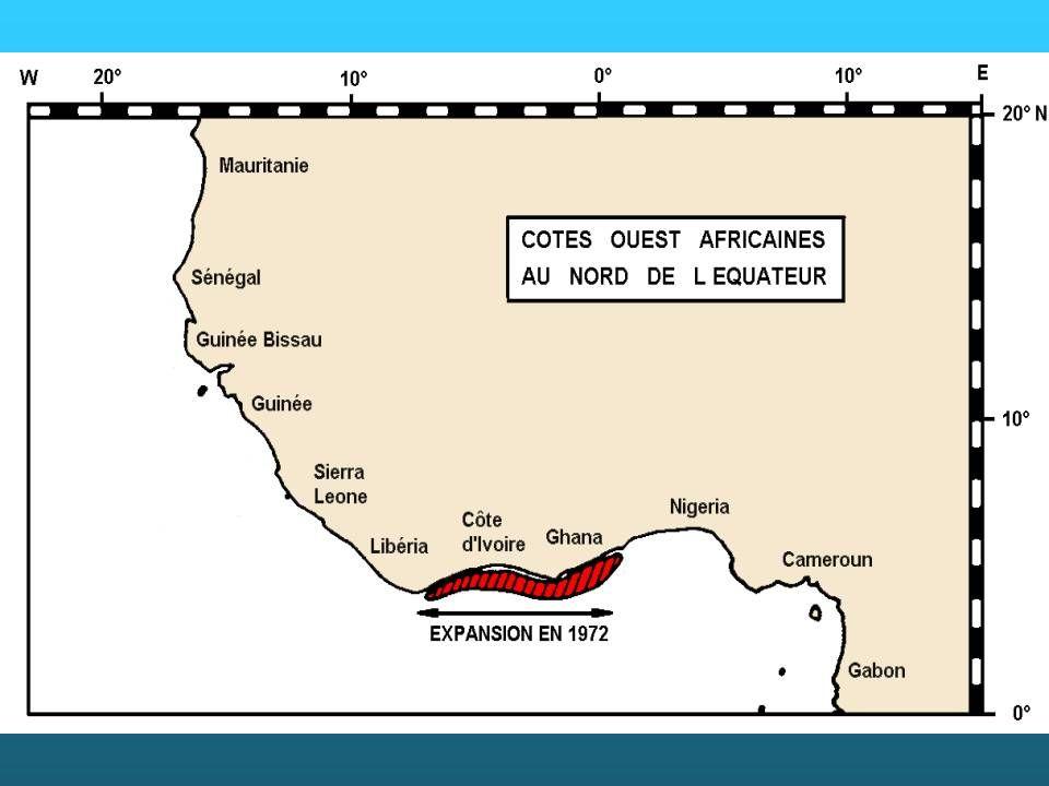Captures totales de Penaeus notialis dans la communauté à sciaenidés de Guinée lors des campagnes scientifiques de chalutage de 1985 à 1998 (source : CNRHB, Domain) et rendements en Penaeus notialis des crevettiers en Mauritanie (anonyme, 2001).