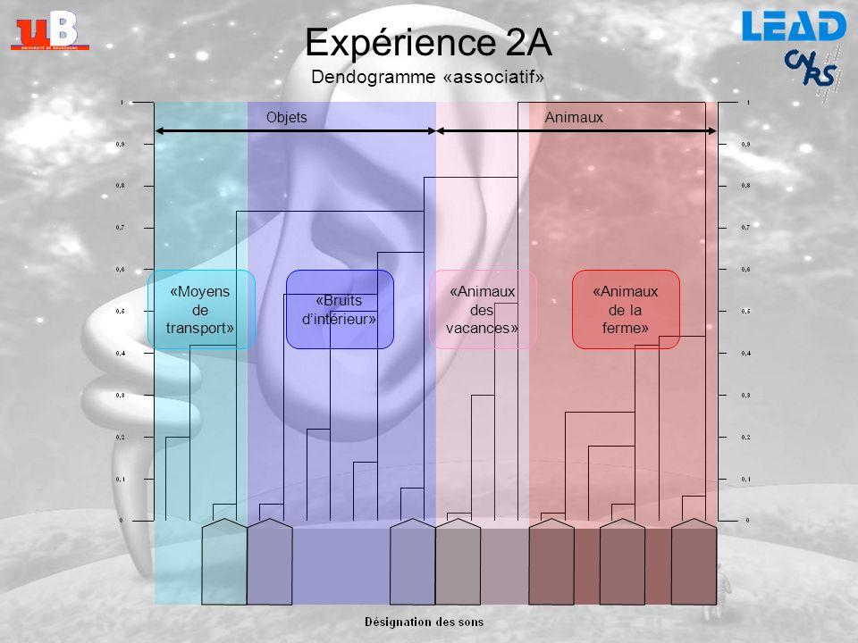 Expérience 2 Catégorisation libre de sons de lenvironnement Expérience 2A : Classement associatif Expérience 2B : Classement acoustique Exemple de pré