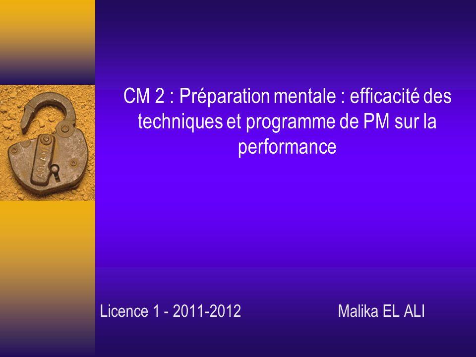 CM 2 : Préparation mentale : efficacité des techniques et programme de PM sur la performance Licence 1 - 2011-2012 Malika EL ALI