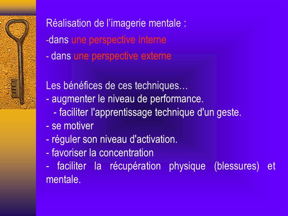 Réalisation de limagerie mentale : - dans une perspective interne - dans une perspective externe Les bénéfices de ces techniques… - augmenter le niveau de performance.