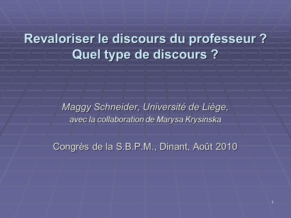 1 Revaloriser le discours du professeur ? Quel type de discours ? Maggy Schneider, Université de Liège, avec la collaboration de Marysa Krysinska Cong