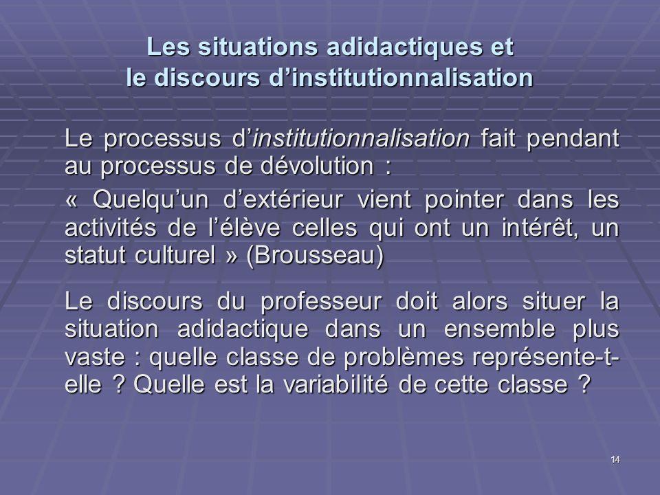 14 Les situations adidactiques et le discours dinstitutionnalisation Le processus dinstitutionnalisation fait pendant au processus de dévolution : « Q