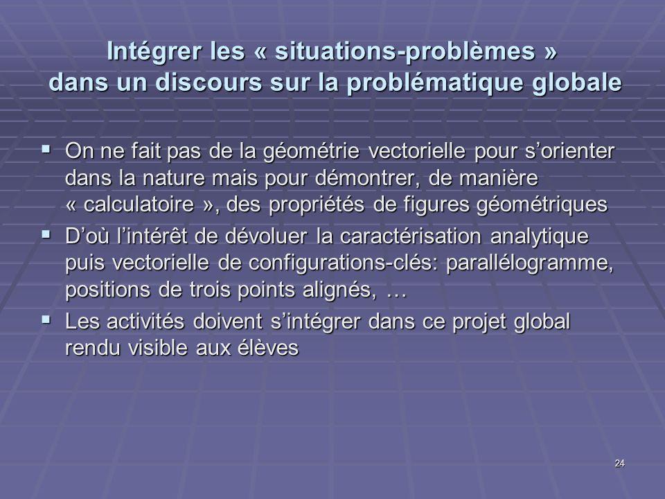 24 Intégrer les « situations-problèmes » dans un discours sur la problématique globale On ne fait pas de la géométrie vectorielle pour sorienter dans