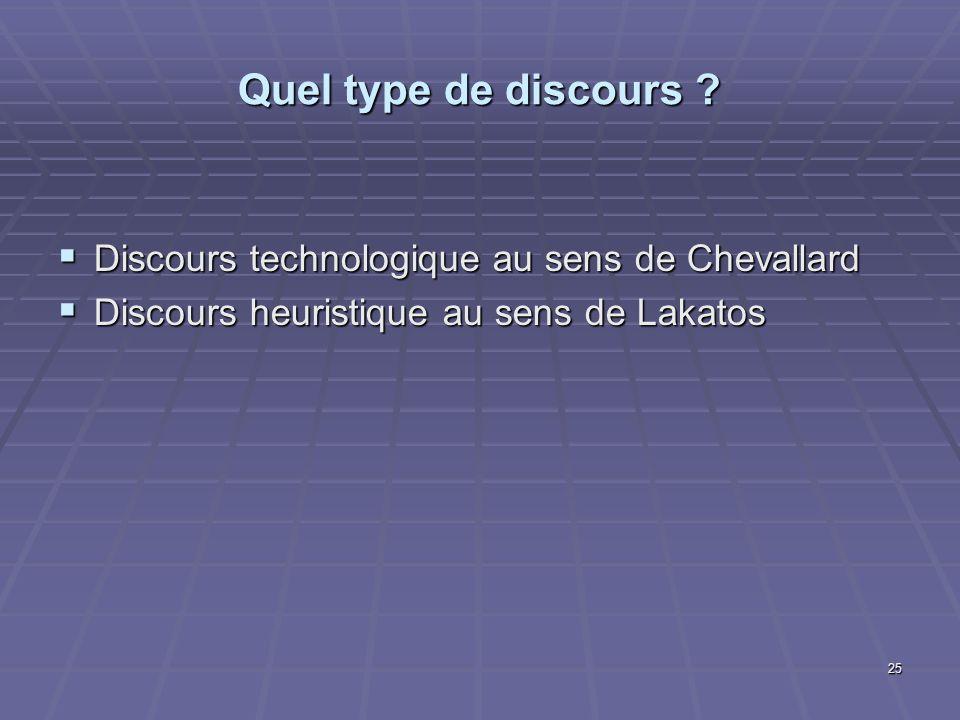 25 Quel type de discours ? Discours technologique au sens de Chevallard Discours technologique au sens de Chevallard Discours heuristique au sens de L