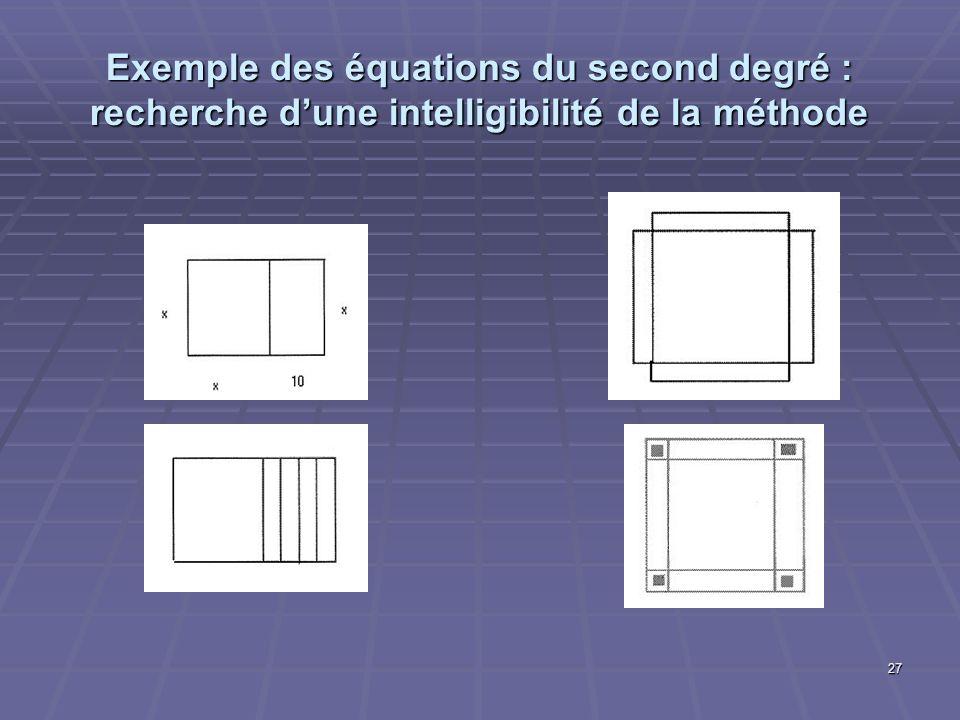 27 Exemple des équations du second degré : recherche dune intelligibilité de la méthode