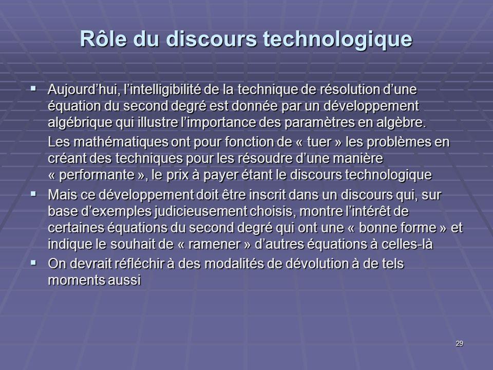 29 Rôle du discours technologique Aujourdhui, lintelligibilité de la technique de résolution dune équation du second degré est donnée par un développe