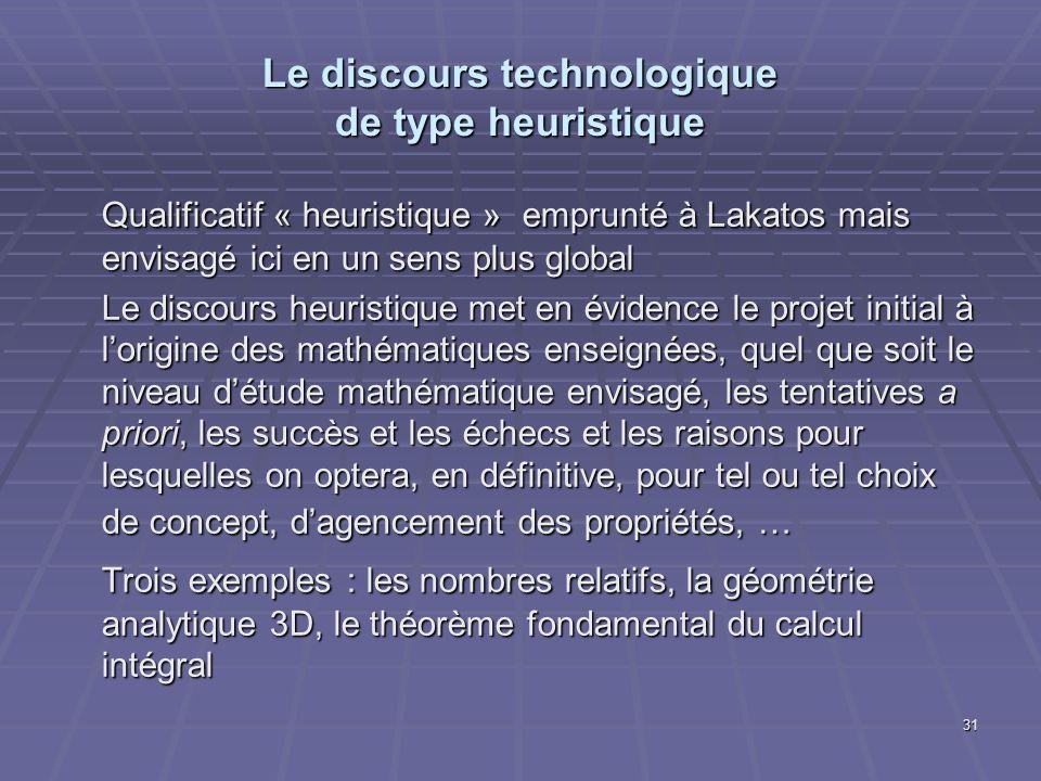 31 Le discours technologique de type heuristique Qualificatif « heuristique » emprunté à Lakatos mais envisagé ici en un sens plus global Le discours