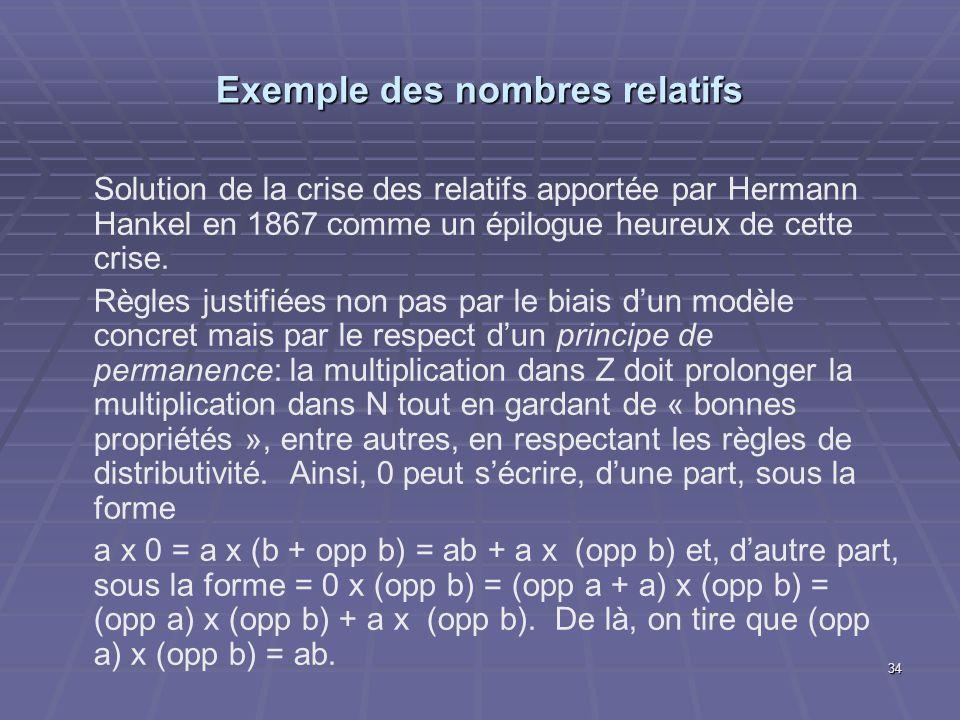 34 Exemple des nombres relatifs Solution de la crise des relatifs apportée par Hermann Hankel en 1867 comme un épilogue heureux de cette crise. Règles
