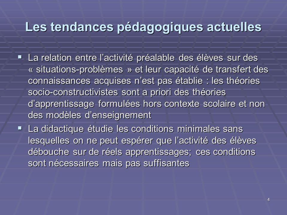 4 Les tendances pédagogiques actuelles La relation entre lactivité préalable des élèves sur des « situations-problèmes » et leur capacité de transfert