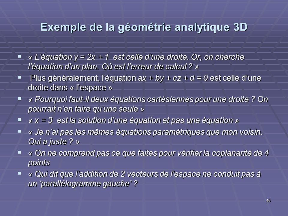 40 Exemple de la géométrie analytique 3D « Léquation y = 2x + 1 est celle dune droite. Or, on cherche léquation dun plan. Où est lerreur de calcul ? »