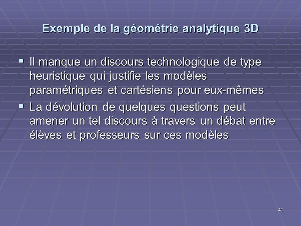 41 Exemple de la géométrie analytique 3D Il manque un discours technologique de type heuristique qui justifie les modèles paramétriques et cartésiens