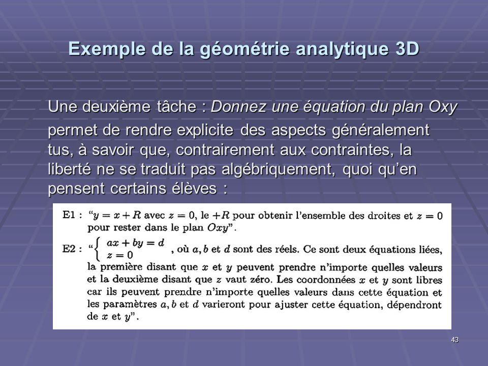 43 Exemple de la géométrie analytique 3D Une deuxième tâche : Donnez une équation du plan Oxy permet de rendre explicite des aspects généralement tus,