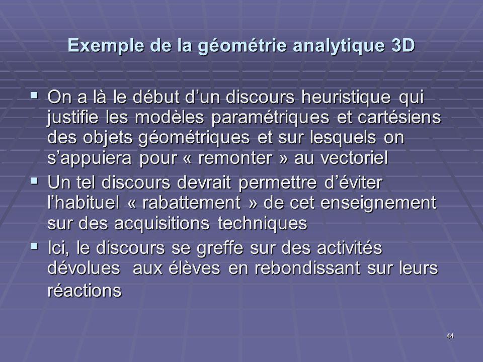 44 Exemple de la géométrie analytique 3D On a là le début dun discours heuristique qui justifie les modèles paramétriques et cartésiens des objets géo