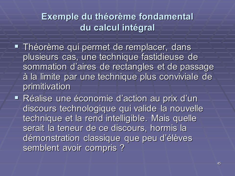 45 Exemple du théorème fondamental du calcul intégral Théorème qui permet de remplacer, dans plusieurs cas, une technique fastidieuse de sommation dai