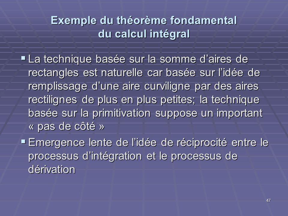 47 Exemple du théorème fondamental du calcul intégral La technique basée sur la somme daires de rectangles est naturelle car basée sur lidée de rempli