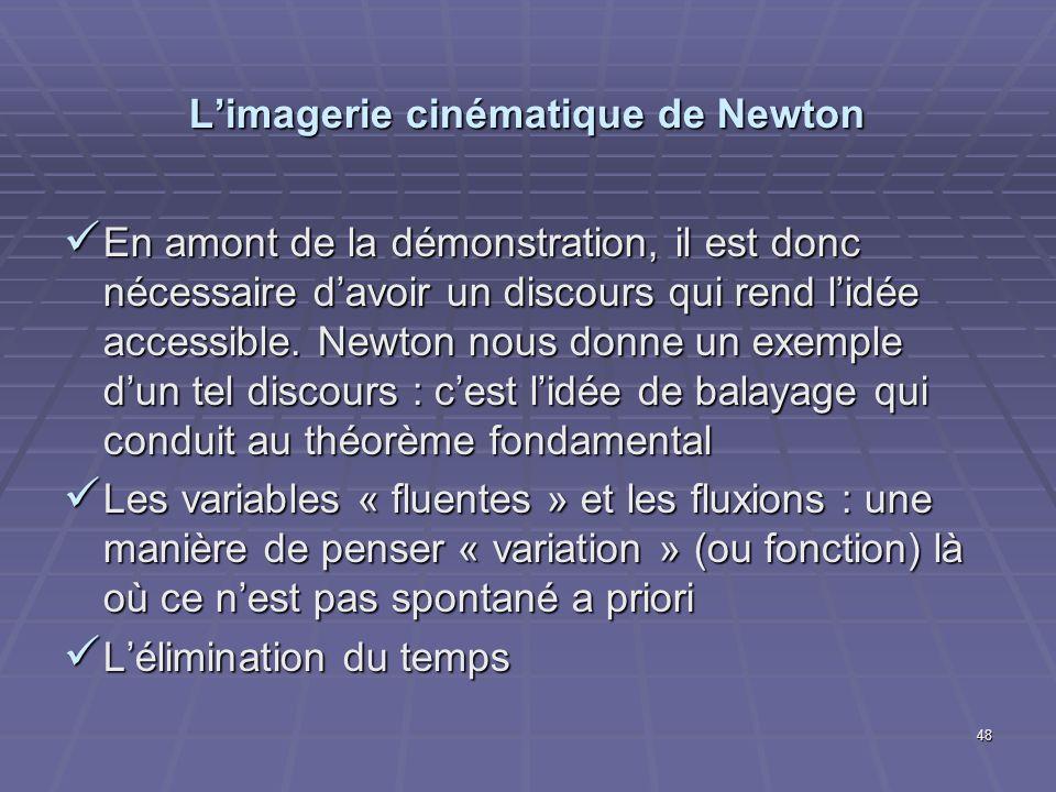 48 Limagerie cinématique de Newton En amont de la démonstration, il est donc nécessaire davoir un discours qui rend lidée accessible. Newton nous donn