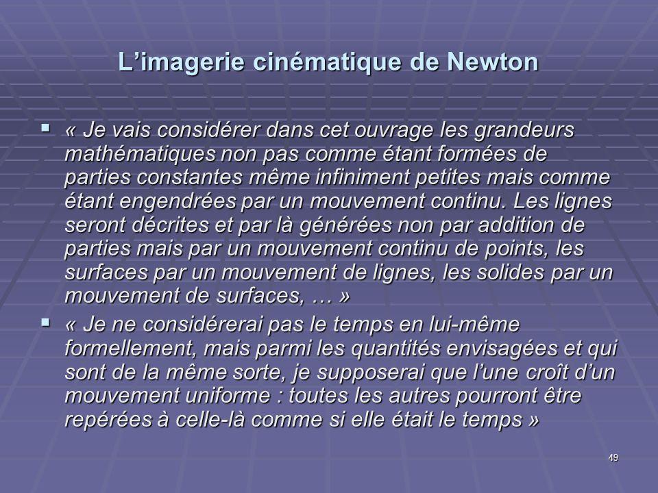 49 Limagerie cinématique de Newton « Je vais considérer dans cet ouvrage les grandeurs mathématiques non pas comme étant formées de parties constantes