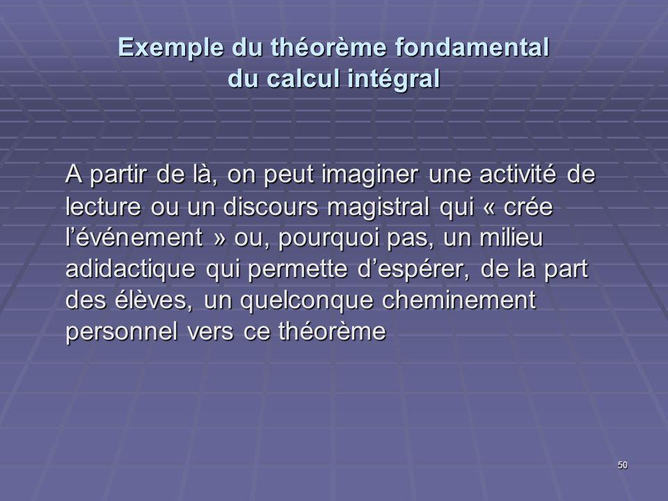 50 Exemple du théorème fondamental du calcul intégral A partir de là, on peut imaginer une activité de lecture ou un discours magistral qui « crée lév