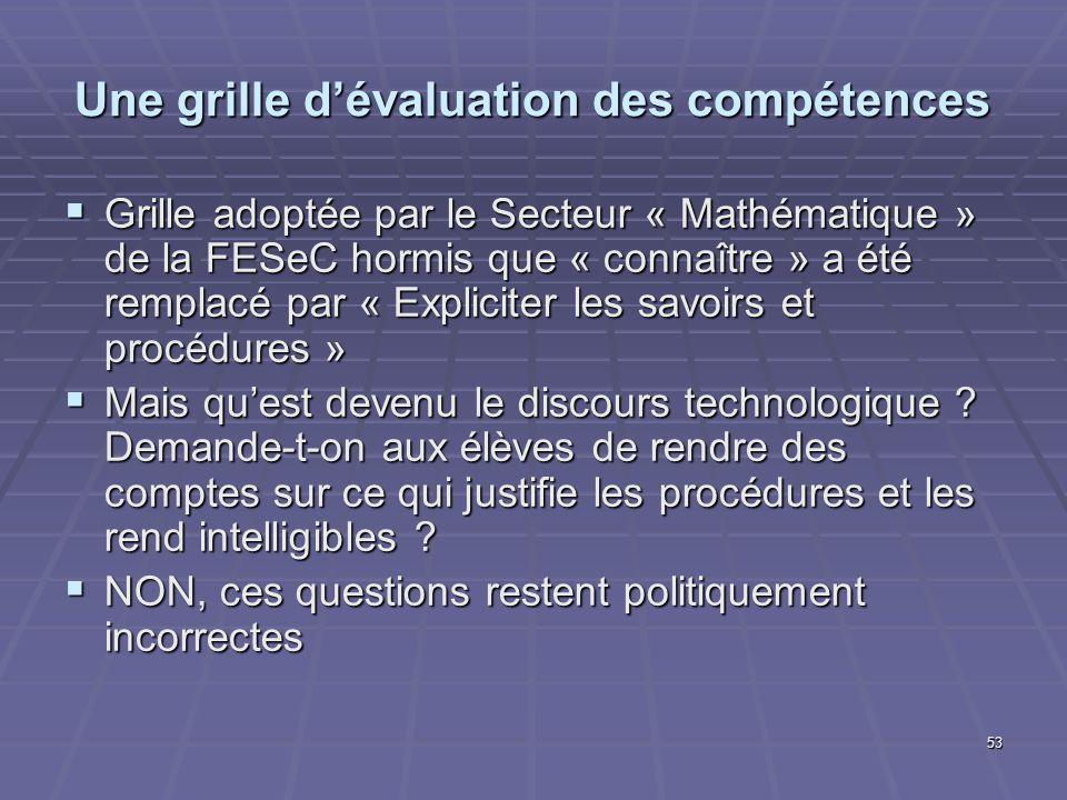 53 Une grille dévaluation des compétences Grille adoptée par le Secteur « Mathématique » de la FESeC hormis que « connaître » a été remplacé par « Exp