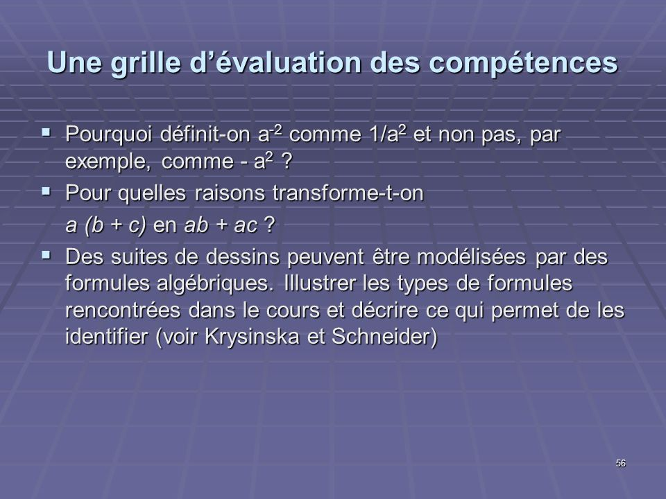 56 Une grille dévaluation des compétences Pourquoi définit-on a -2 comme 1/a 2 et non pas, par exemple, comme - a 2 ? Pourquoi définit-on a -2 comme 1