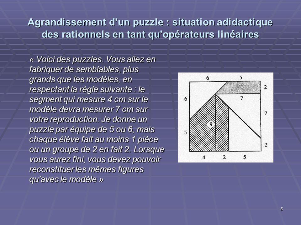 6 Agrandissement dun puzzle : situation adidactique des rationnels en tant quopérateurs linéaires « Voici des puzzles. Vous allez en fabriquer de semb