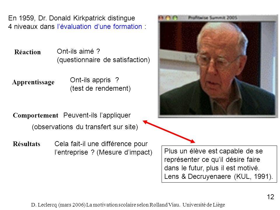 D. Leclercq (mars 2006) La motivation scolaire selon Rolland Viau. Université de Liège 12 En 1959, Dr. Donald Kirkpatrick distingue 4 niveaux dans lév