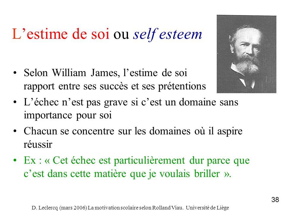 D. Leclercq (mars 2006) La motivation scolaire selon Rolland Viau. Université de Liège 38 Lestime de soi ou self esteem Selon William James, lestime d