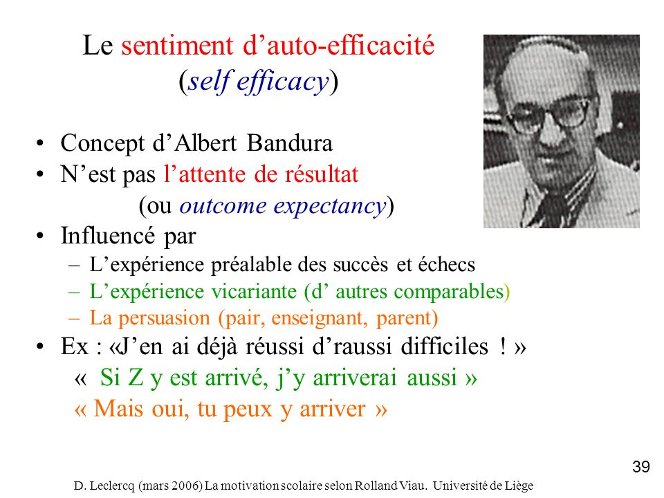 D. Leclercq (mars 2006) La motivation scolaire selon Rolland Viau. Université de Liège 39 Le sentiment dauto-efficacité (self efficacy) Concept dAlber