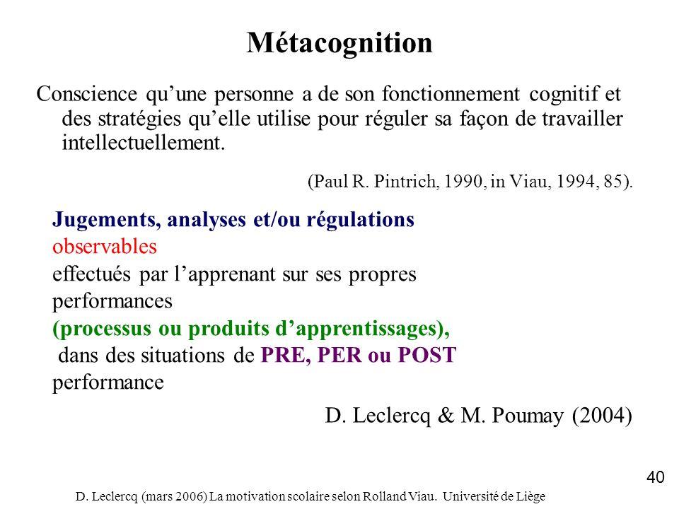 D. Leclercq (mars 2006) La motivation scolaire selon Rolland Viau. Université de Liège 40 Métacognition Conscience quune personne a de son fonctionnem