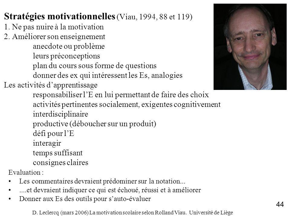 D. Leclercq (mars 2006) La motivation scolaire selon Rolland Viau. Université de Liège 44 Stratégies motivationnelles (Viau, 1994, 88 et 119) 1. Ne pa