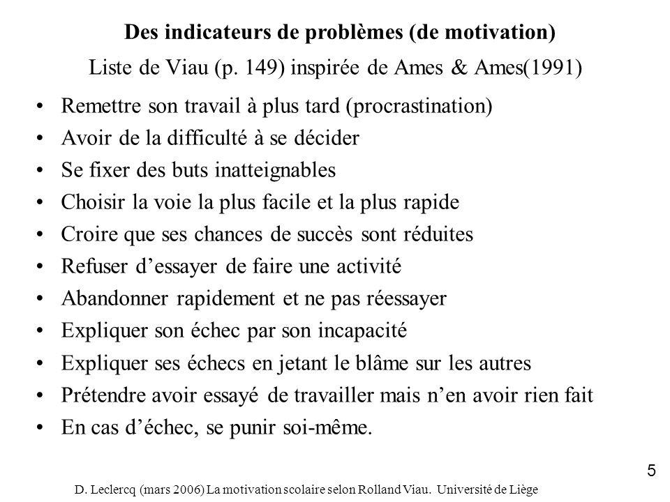 D. Leclercq (mars 2006) La motivation scolaire selon Rolland Viau. Université de Liège 5 Liste de Viau (p. 149) inspirée de Ames & Ames(1991) Remettre