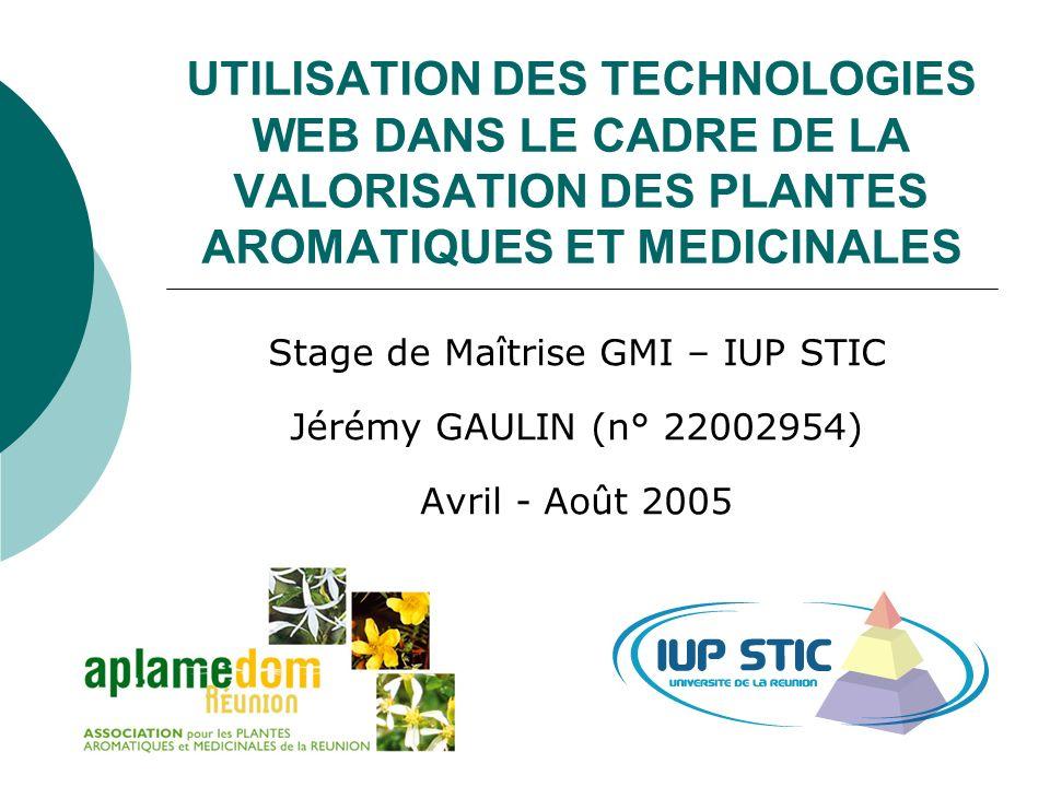 SOMMAIRE Présentation de lassociation Projet du site Web de lAPLAMEDOM Projet du site Web dédié aux PAM (Plantes Aromatiques et Médicinales) Conclusion