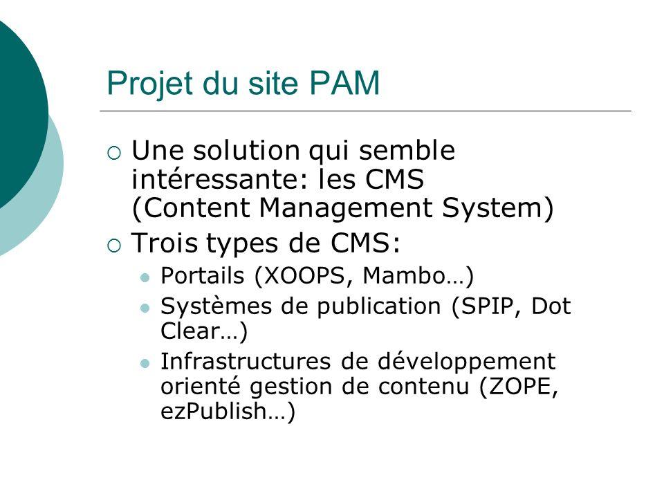 Projet du site PAM Une solution qui semble intéressante: les CMS (Content Management System) Trois types de CMS: Portails (XOOPS, Mambo…) Systèmes de