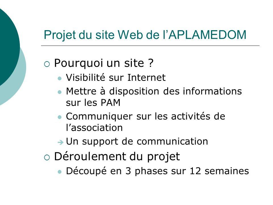 Projet du site Web de lAPLAMEDOM Développement en PHP / MySQL Gestion dun cache pour les pages de contenu Recherche FULLTEXT Interface dadministration permettant la modification du contenu grâce à un outil WYSIWYG Publication dactualité avec fichiers joints et galerie de photos