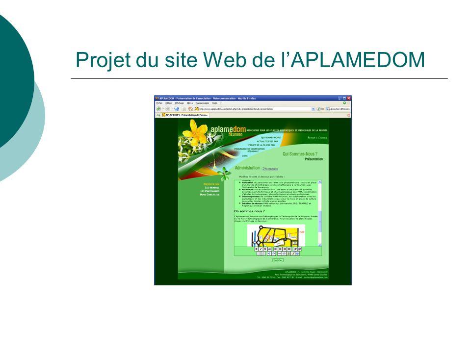 Projet du site Web de lAPLAMEDOM