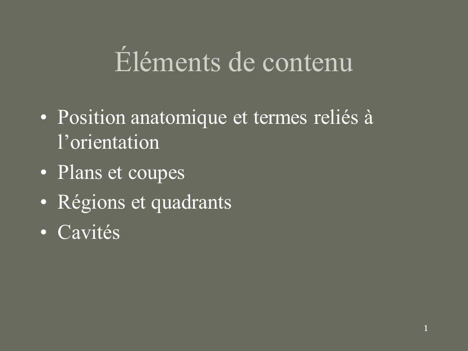 1 Éléments de contenu Position anatomique et termes reliés à lorientation Plans et coupes Régions et quadrants Cavités