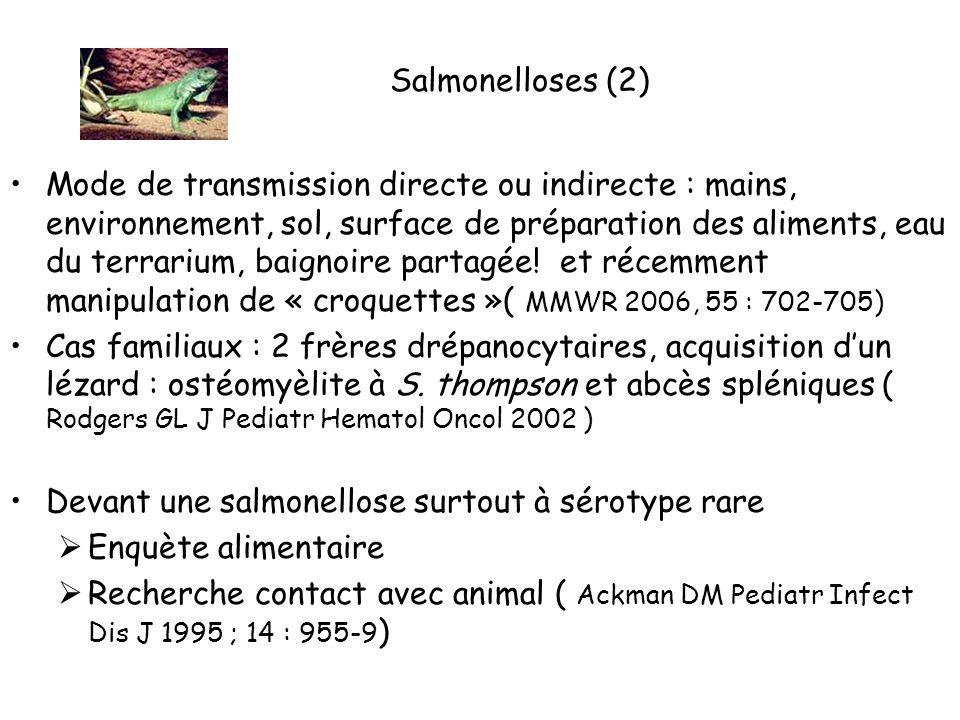 Salmonelloses (2) Mode de transmission directe ou indirecte : mains, environnement, sol, surface de préparation des aliments, eau du terrarium, baignoire partagée.