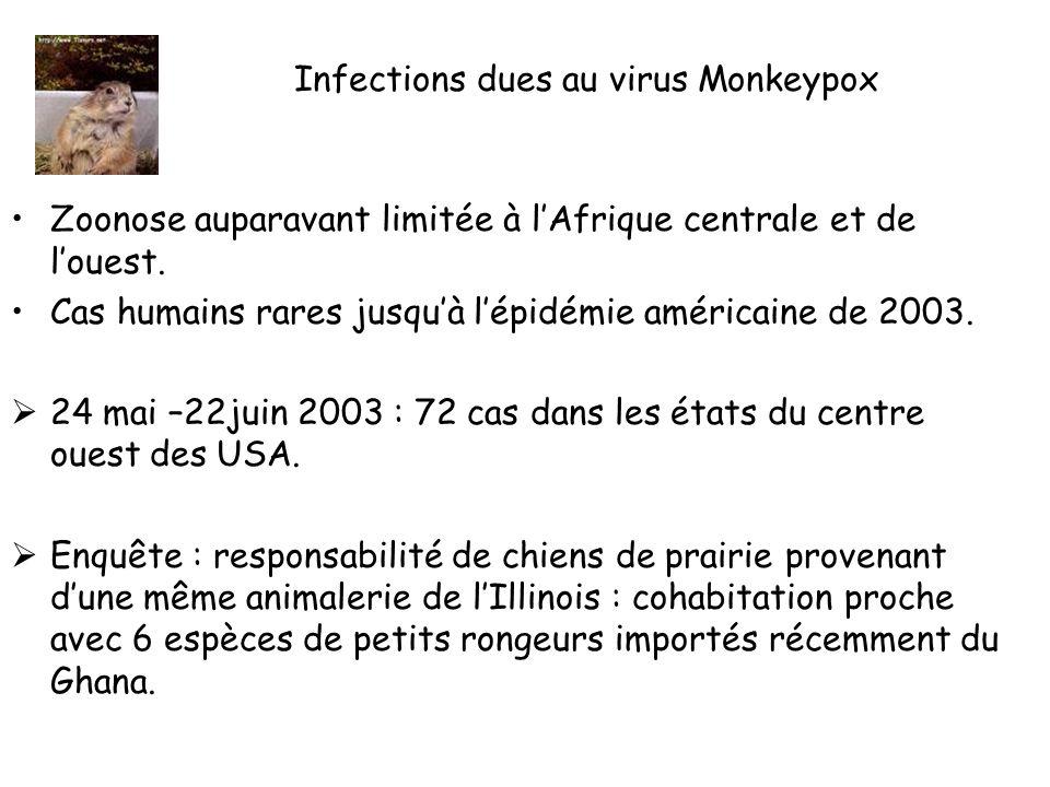 Infections dues au virus Monkeypox Zoonose auparavant limitée à lAfrique centrale et de louest.