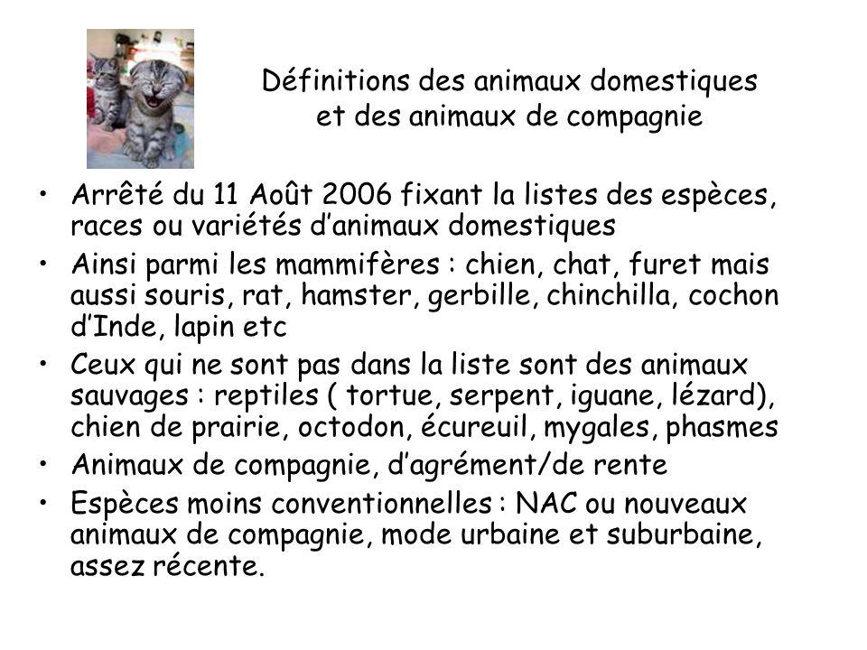 Définitions des animaux domestiques et des animaux de compagnie Arrêté du 11 Août 2006 fixant la listes des espèces, races ou variétés danimaux domestiques Ainsi parmi les mammifères : chien, chat, furet mais aussi souris, rat, hamster, gerbille, chinchilla, cochon dInde, lapin etc Ceux qui ne sont pas dans la liste sont des animaux sauvages : reptiles ( tortue, serpent, iguane, lézard), chien de prairie, octodon, écureuil, mygales, phasmes Animaux de compagnie, dagrément/de rente Espèces moins conventionnelles : NAC ou nouveaux animaux de compagnie, mode urbaine et suburbaine, assez récente.