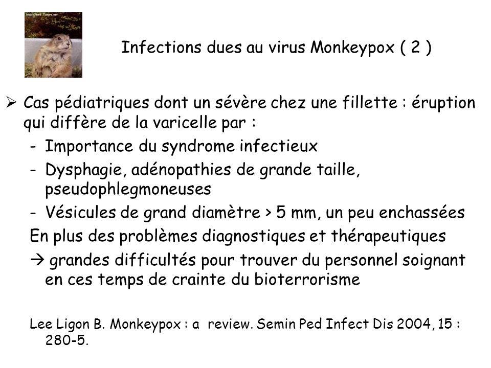Infections dues au virus Monkeypox ( 2 ) Cas pédiatriques dont un sévère chez une fillette : éruption qui diffère de la varicelle par : -Importance du syndrome infectieux -Dysphagie, adénopathies de grande taille, pseudophlegmoneuses -Vésicules de grand diamètre > 5 mm, un peu enchassées En plus des problèmes diagnostiques et thérapeutiques grandes difficultés pour trouver du personnel soignant en ces temps de crainte du bioterrorisme Lee Ligon B.