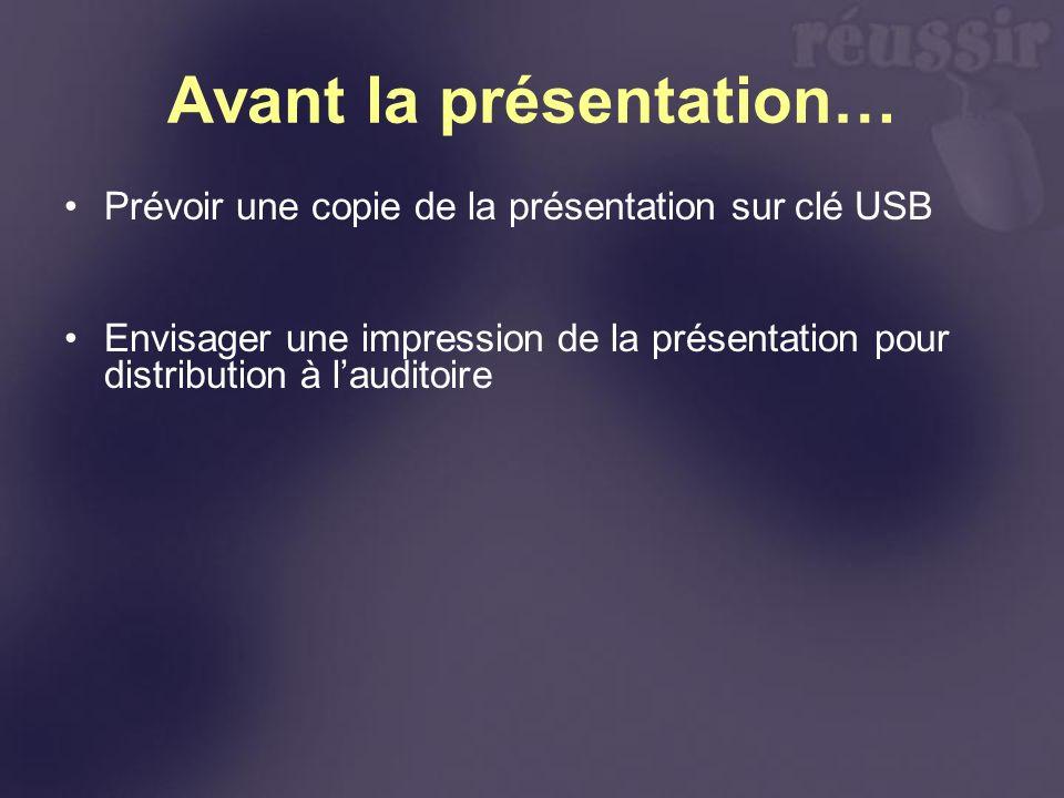 Avant la présentation… Prévoir une copie de la présentation sur clé USB Envisager une impression de la présentation pour distribution à lauditoire