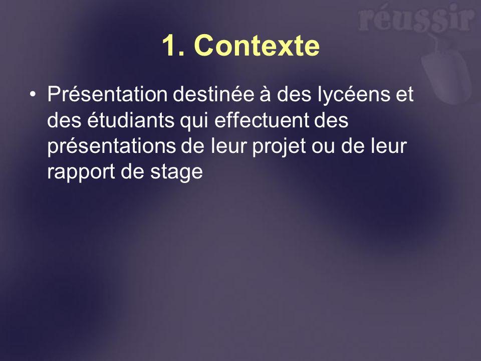 1. Contexte Présentation destinée à des lycéens et des étudiants qui effectuent des présentations de leur projet ou de leur rapport de stage