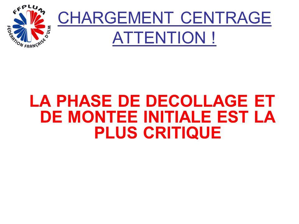 CHARGEMENT CENTRAGE ATTENTION ! LA PHASE DE DECOLLAGE ET DE MONTEE INITIALE EST LA PLUS CRITIQUE